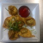 sweet potato, mushroom and lily petal wontons, handmade by the chef. delicious!
