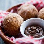 Zeppole, Italian doughnuts, Nutella, vanilla custard