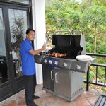 Hotel staff cooking bbq lunch
