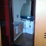 bathroom set in a wooden wardrobe
