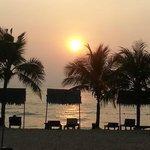 Blick vom Garten zum Sonnenuntergang am Strand