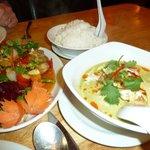Prawn green curry & aubergine dish