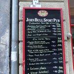 John Bull Sport Pub - menu