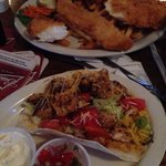 Fish tacos (my half it came with two and beans with rice) and fish and chips. Great meal at Robb