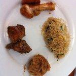 Fried bee hoon; black pepper chicken; fried chicken; potato ball