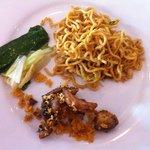 Fried noodles; vegetables