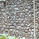 Mur fait avec de la pierre du Volcan