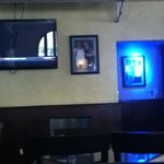 To the right of the bar.