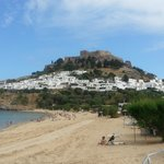 On the main beach of Lindos