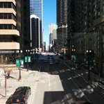 Walking OVER Dearborn Street looking north