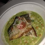 Crossings - Striped Bass - zucchini & carrot ragout pesto, charred tomato by Executive Chef Lalo