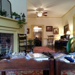 The parlor area, amazing books and newspapers to read, tea, hot chocolate and coffee for guests.