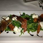 Crossings - Persimmon & Burrata - grilled peach, arugula, panetta, balsamic by Executive Chef La