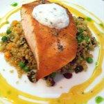 Pan seared salmon with tzaziki sauce, quinoa salad, and orange reduction sauce