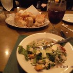 garlic bread and salad starter