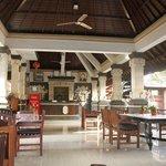 Puri rama breakfast area + reception desk