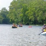 Group canoe ride on the James River