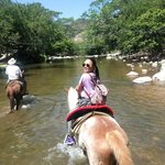 Riding through one of the rivers