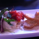 Soft cheese stuffed with figs and sweet salsa jam