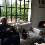 wine bar fireplace