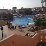 View of the pool area from the reception balcony