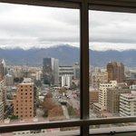 Vista da janela para as cordilheiras