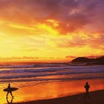 Amazing sunrise in summer at Manly Beach