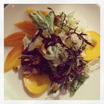 Golden Beets, Local Greens, Fennel, Pickled Beet Stems, Goat Cheese Dressing.