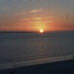 Sunset through the screen balcony