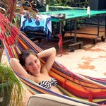 Lounging in the provided hammock on the grounds