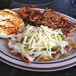 Jack Daniels BBQ Pork, Jalapeno Cheddar Potato Pancake, & Grilled Biscuit