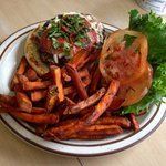 Pepperoni/Asiago/Basil Burger w/ Sweet Potato Fries