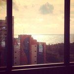 Vista do hotel no café da manhã