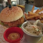 Fish Sandwich with fries, coleslaw and special sauce
