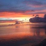 Tiki village sunset