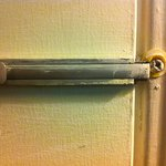One of the many broken locks for our room.