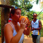 Anja and Chamera...we got fresh King Coconut right from the tree!