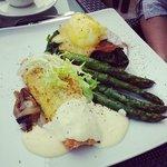 Chef Samson delicious Coconut Salmon for breakfast at Azur