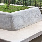Concrete bench on the roof