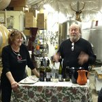 Elk Run co-owners Fred and Carol Wilson host a barrel tasting