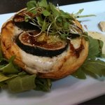 Mission Fig and Blue Cheese Tartlet: golden puff pastry, micro arugula and balsamic reduction