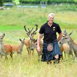 Donald taks a stroll with our tame Red Deer Herd
