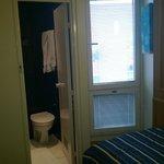 View from door to window and bathroom