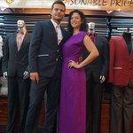 darkblue suit and long elegant dress