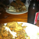 Fried seafood platter and Cajun fried chicken