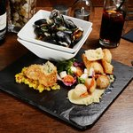 """Try our surf """"N"""" turf Trio of shellfish sharing starter"""