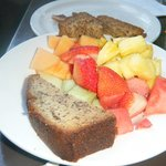 Banana bread and fresh fruit