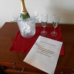 Our complimentary champagne to help us celebrate our anniversary!