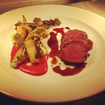 Lightly smoked venison loin, salt baked celeriac, charred gem, beetroot soubise and juniper jus