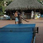 Ping pong and the aqua bar behind